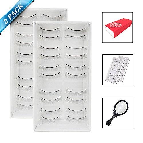 20pairs/2packs Training Lashes For Eyelash Extension, 78 Round Self-Adhesive Practice Lashes Strip For Teaching Practice Lashes with Mirror