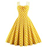 Wellwits Women's Cami Strap Yellow Polka Dots Tea Party 1950s Vintage Dress M