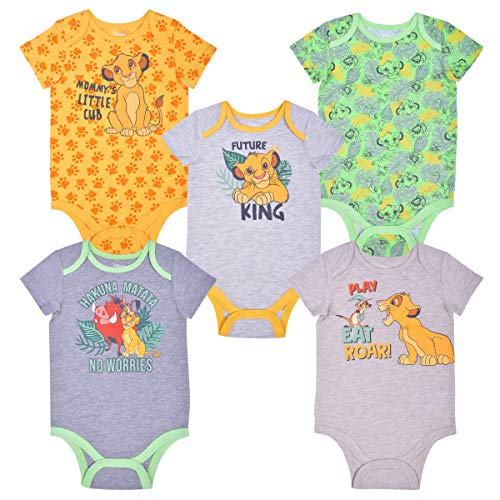 Disney 5 Pack Lion King Short Sleeve Baby's Onesie Set, Simba and Friends Creeper Bundle, 3 Months
