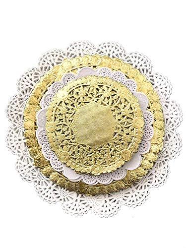 Kombipackung 120 Weiße und Goldene Runde Deckchen - Tischsets aus Spitze in Verschiedenen Größen 4, 5, 6 und 8 Zoll (je 30 Stück)