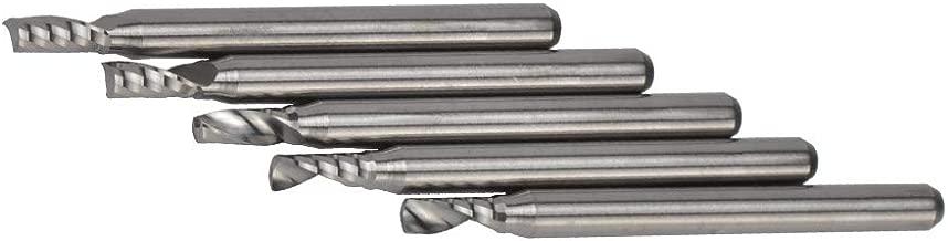 SpeTool Set de 5 Piezas Fresas Espirales de Cabeza Cuadrada Cortadores Profesionales de CNC Herramientas Sola Flauta, Di/ámetro del V/ástago 3.175 mm,Corte 2.5 mm x 10 mm