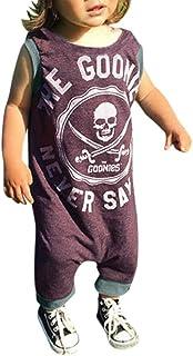 Divertido Pijama,K-Youth Pelele Bebe Niño Calavera Impresas Bodies Bebe Manga Corta Mameluco Bebe Niña Body Bebé Recien Nacido Mono para Niños Pelele de Bebés Niñas Ropa de Dormir