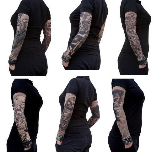 Oblique Unique® Nylon Tattoo Ärmel - Totenkopf - Skull - Einzeln oder als 6er Set (6er Set)