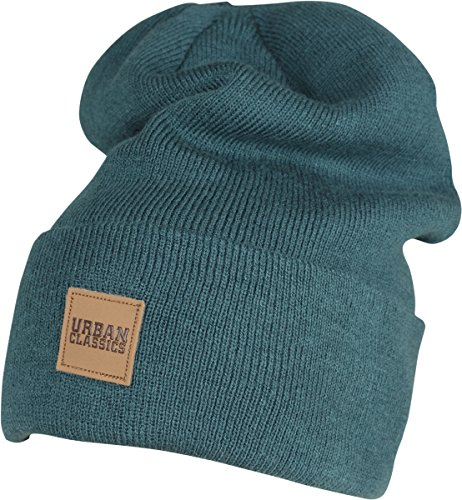 Urban Classics TB626 Unisex Strickmütze Leatherpatch Long Beanie Jasper, One Size (Herstellergröße: one size)