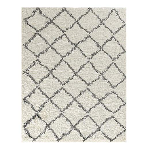 Wyatt & Ash Ivory/Charcoal 3.25 ft. x 5 ft. Diamond Trellis Shag Area Rug
