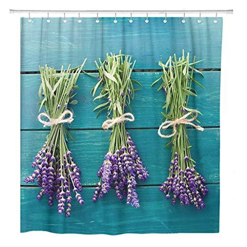 JOOCAR Design Duschvorhang, Provence frische Lavendelblüte Blumen Ernte Zeit Kräuter Flieder, wasserdichter Stoff Stoff Badezimmer Dekor Set mit Haken
