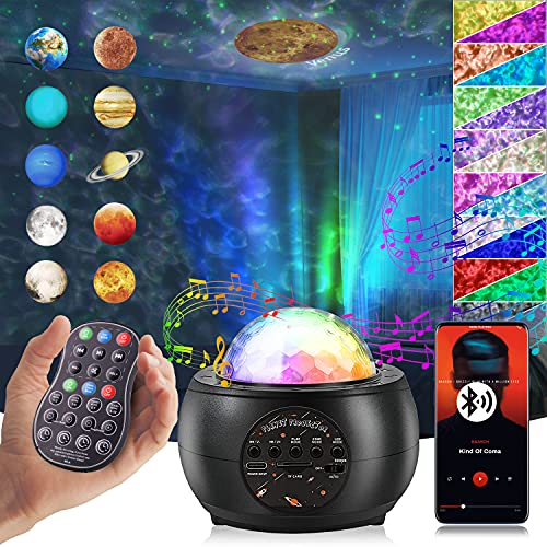 Star Projector Night Light, Galaxy Projector 4 in 1 with 10 Planets Bluetooth Music Speaker, Timer & Ocean Wave for Kid Teen Adult Bedroom Decor