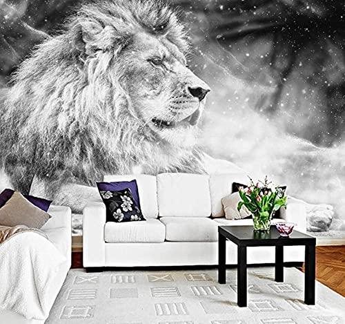 Papel tapiz personalizado Mural negro blanco viento León rey TV telón de fondo moderno simple murales de pared foto papel...