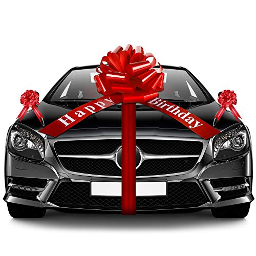 20 Inches Red Car Bow Happy Birthday Large Car Ribbon Bow and 5 Pieces 6 Inch Pull Bow for Christmas Party Car Decoration New Houses Wedding