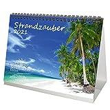 Strandzauber DIN A5 Tischkalender für 2021 Strand und Strände - Geschenkset Inhalt: 1x Kalender, 1x Weihnachtskarte (insgesamt 2 Teile)