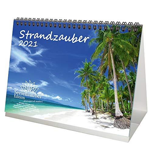 Calendrier de table 2021 - Format A5 - Pour la plage et la plage - Coffret cadeau - Contenu : 1 calendrier, 1 carte de vœux de Noël et 1 carte de vœux (total 3 pièces).
