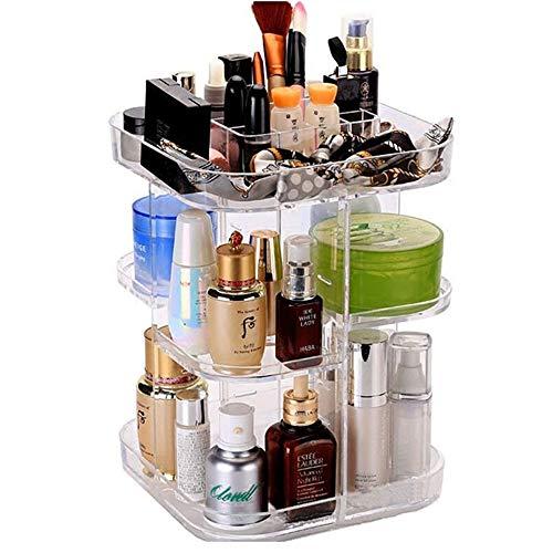 JMAHM Kosmetikkoffer aus Acryl, drehbar, Make-up-Organizer, Kombination, verstellbar, Ständer...