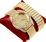 techno king watches for women - Techno King Iced Out Men Metal Band Watches and Matching Studded Bracelet Gift Set 7151GM-GD