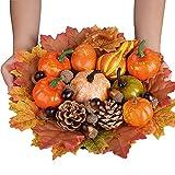 YSBER 100PCS Juego de decoración de Mesa de Calabazas Artificiales de Acción de Gracias, Calabazas Hojas de Arce Conos de Pino Bellotas Calabazas Falsas Verduras otoño Decoraciones de Halloween.