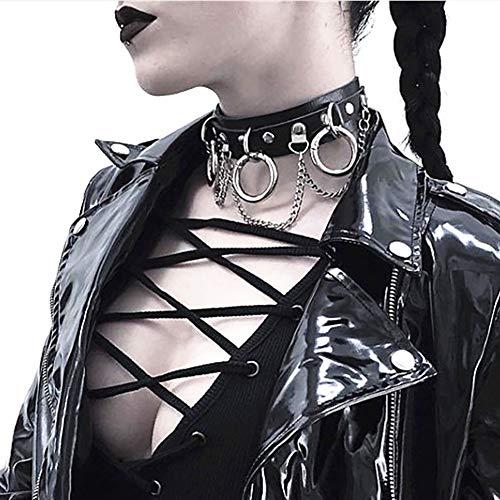 Sethain Punk Cuir Foulard Collier Noir gothique Collier Colliers Bague Cou Bijoux pour les femmes et les filles
