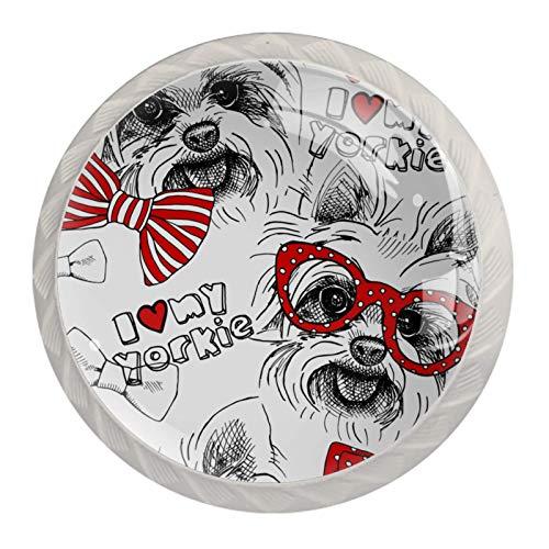 Manijas para cajones Perillas para gabinetes Perillas Redondas Paquete de 4 para armario, cajón, cómoda, cómoda, etc., Imagen Dog York Bows
