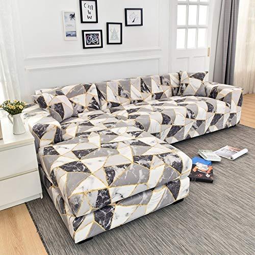 Funda de sofá elástica con Estampado Floral para el Protector de la Funda de la Silla de la Sala de Estar Compre Dos Fundas separadas para el sofá en Forma de L A16 de 2 plazas