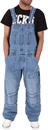 DianShaoA Mens Denim Trousers Bib Overalls Dungarees Multi-Pocket Loose Jeans Jumpsuits