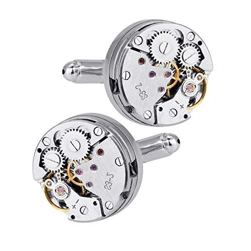 DECARETA Manschettenknöpfe Handgemachtes Cufflinks Herren Manschetten Knöpfe Zahnräder Uhrwerk Mechanisches Herrenhemd Dekoration Geschenk der Männer-ein Paar