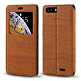 BlackView P6000 Case, Wood Grain Leather Case with Card