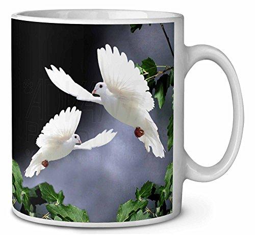 Zwei schöne weiße Tauben Kaffeetasse Geburtstag / Weihnachtsgeschenk