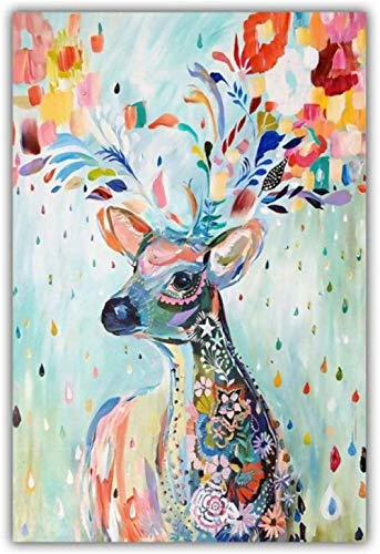 Zxwd Print Canvas Posters Painting Gift Minimalist Style Splash Ink Watercolor Deer Poster Picture Modern Wall Art Decoration Frame