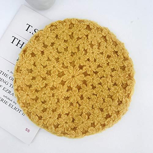 QINGNIU Otoño E Invierno Sombrero De Mujer Crochet Hecho A Mano Boina Japonesa Retro Boina De Lana Salvaje Sombrero De Punto De Moda (Circunferencia del Casquillo 56-58 Cm) Amarillo