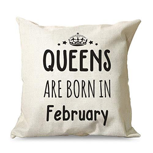 IOVEQG Queen Are Born In February - Funda de cojín decorativa de varios tipos con cremallera oculta para sofá, cama, 45 x 45 cm, color blanco