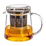 Trendglas Jena Tetera para dos tazas con filtro de acero inoxidable, 0,4 litros