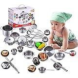 Qinlorgo Ensemble de Jeu de Cuisine pour Enfants - Garçons et Filles Jouets de Cuisine Ustensiles de Cuisine en Acier Inoxydable Ustensiles de Cuisine Pan Toys Set(1 Jeu de 16 pièces)