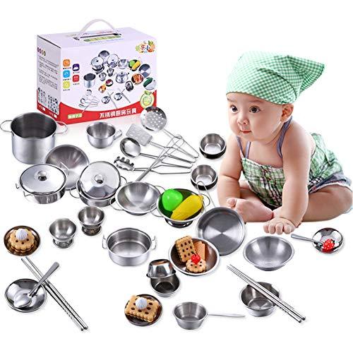 Küchenspielzeug für Kinder, Jungen und Mädchen Küchenspielzeug Kochgeschirr aus Edelstahl Kochgeschirr Pfannenspielzeug-Set, ein tolles Geschenk(16Pcs)