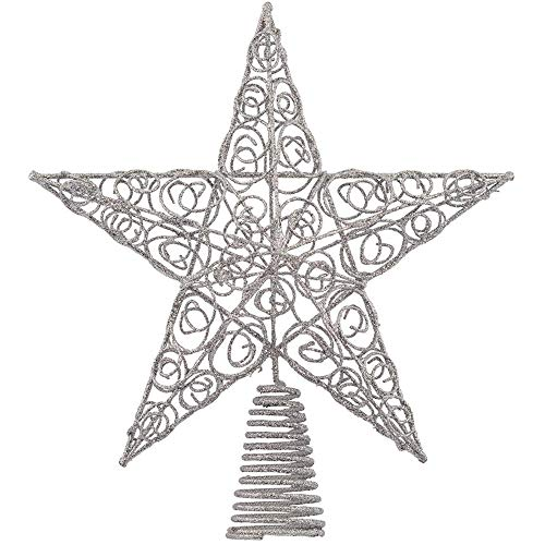 Ornativity Silver Star Tree Topper - Christmas Swirl Design Sparkle Star Treetop Ornament