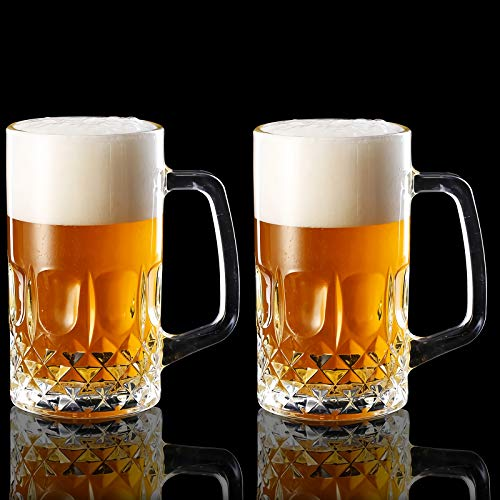 Momugs 20 OZ Beer Stein Mugs, German Clear Large Tall Beer Glasses for Men, Set of 2
