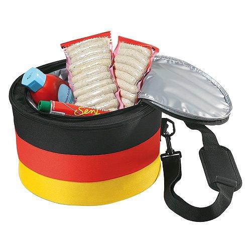 51k58ZPQ3LL - elasto Grillset Holzkohlegrill Barbecue Reisegrill Holzkohle mit Kühltasche im Deutschland-Design Isoliertasche
