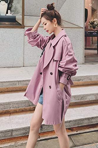 LiSh-EC Klassische schlanke Mode Jacke Trenchcoat winddichter Mantel lila rosa mittellanges Kleid lose 2020 Frühling und Herbst Schnür-Over-The-Knie-Mantel-rosa lila_XL