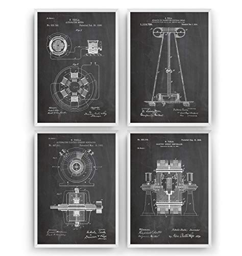 Tesla Patent Poster - Set Of 4 - Engineering Gift Engineer Science Vintage Blueprint Wall Print Art - Frame Not Included