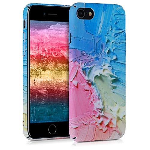 kwmobile Hülle kompatibel mit Apple iPhone 7/8 / SE (2020) - Handy Hülle Handyhülle - Backcover Hardcover Cover Schutzhülle - Farbkleckse Rosa Hellblau Gelb