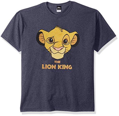 Disney Playera con gráfico de Pintura Facial de Lion King Simba para Hombre, Brezo Azul Marino, X-Large