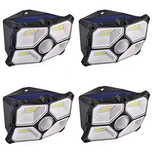 4 Piezas Luz Solar Exterior, 40 LED Lámpara de Sensor Movimiento Solar Iluminación Impermeable IPX5, Foco Solar Exterior con 120° Gran Angular Destacado Inducción Ideal para Jardín, Porches, Patio