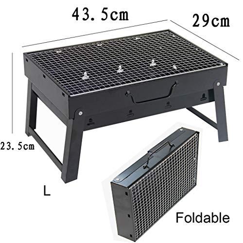 51k59FlrcHL - Grills Kochplatten Holzkohlegrill im Freien beweglichen Faltbarer Barbecue Gratis Maschendraht Grillzubehör (Size : L)