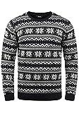 !Solid Winno Herren Weihnachtspullover Norweger-Pullover Winter Strickpullover Grobstrick Pullover mit Rundhalsausschnitt, Größe:XL, Farbe:Black (9000)