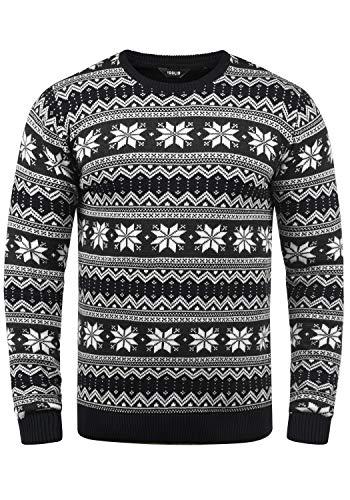 !Solid Winno Herren Weihnachtspullover Norweger-Pullover Winter Strickpullover Grobstrick Pullover mit Rundhalsausschnitt| Größe:L| Farbe:Black (9000) | Bekleidung > Pullover > Norwegerpullover | !Solid