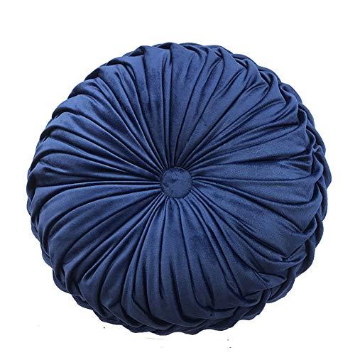 Nicole Knupfer Sammet sittdyna stolkudde, rund sittdyna trädgård stolskudde sittdyna ryggkudde soffkudde dekorativ kudde för inomhus och utomhus (mörkblå)