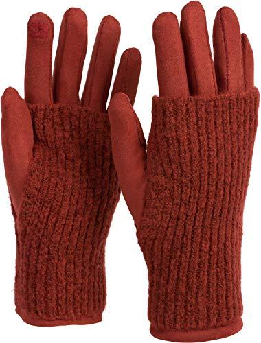 styleBREAKER Damen Touchscreen Stoff Handschuhe mit abnehmbaren Strick Stulpen, warme Fingerhandschuhe, Winter 09010022, Farbe:Rost