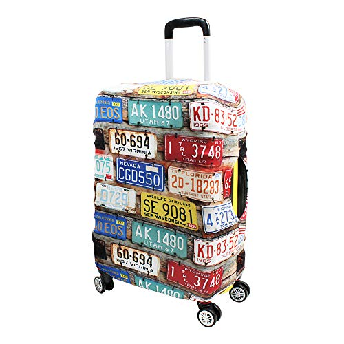 Luggage Cover Suitcase Protector Fits 19-33 Inch TSA Approved Travel Suitcase Cover Washable Dustproof Anti-Scratch (XL (30-33 inch), License Plates)