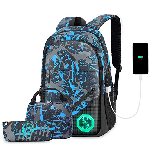 Backpack for Boys, Kids School Backpack Set with USB Charging Port Lunch Bag and Pencil Case, Water Resistant Teens Bookbag Fashion School Bags