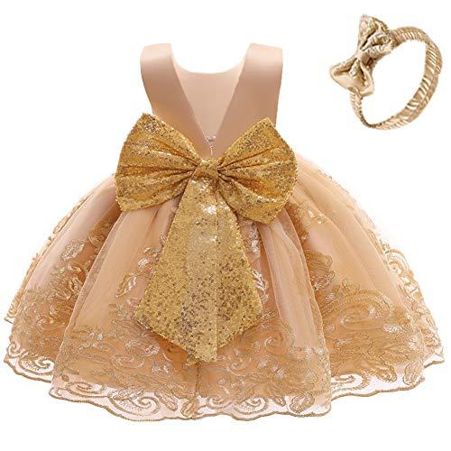 FYMNSI Vestido de fiesta para bebé, para cumpleaños, bautizo, sin espalda, bordado, sin mangas, formal, con cinta para la frente. dorado 6-12 Meses