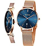 Stainless Steel Band Casual Woman Watch,Thin Watches for Women Rose Gold,Ladies Dial Face Watches Waterproof Dress Wrist Watch,OLEVS Lady Luxury Watches,Simple Female Watch with Day,Slim Women Watch