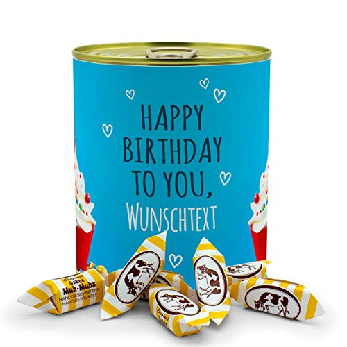 printplanet® - Konservendose mit Name oder Text selbst gestalten - Süßigkeiten-Dose - Layout Geburtstags-Cupcake - Füllung Sahne Muh-Muhs