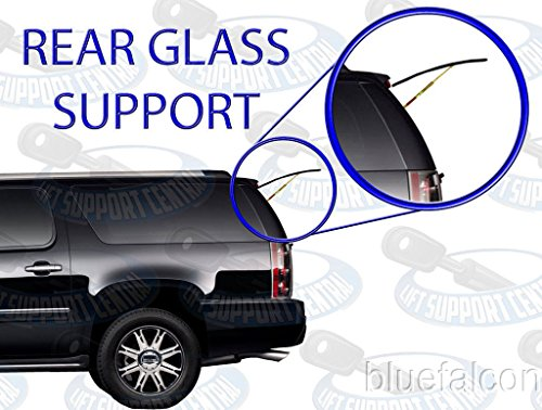Two REAR GLASS Gas Charged Lift Supports For Back WINDOW On Hatch For 2007-2014 Chevrolet Suburban, 2007-2014 Chevrolet Tahoe, 2007-2014 GMC Yukon, 2007-2014 Cadillac Escalade SUV Left and Right Side. WGS-152-167